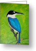 Large Bird Drawings Greeting Cards - The King Fisher Greeting Card by Jack Norton