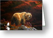 Kodiak Painting Greeting Cards - The King of Blueberry hill Greeting Card by Scott Thompson