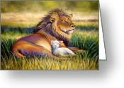 Lion Greeting Cards - The Kingdom of Heaven Greeting Card by Susan Jenkins