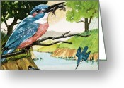 Reptiles Painting Greeting Cards - The Kingfisher Greeting Card by D A Forrest