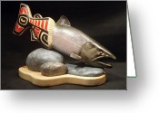 Fishing Sculpture Greeting Cards - The Kings Return Greeting Card by Eric Knowlton