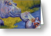 Grass Pastels Greeting Cards - The Kiss - Hippos Greeting Card by Tracy L Teeter
