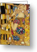 Contemporary Greeting Cards - The Kiss After Gustav Klimt Greeting Card by Darlene Keeffe