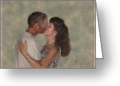 Husband And Wife Greeting Cards - The Kiss Greeting Card by Christine Belt