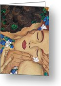 Klimt Greeting Cards - The Kiss Close Up Greeting Card by Darlene Keeffe