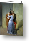 Canvas Greeting Cards - The Kiss Greeting Card by Francesco Hayez