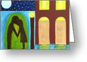 Couples Painting Greeting Cards - The Kiss Goodnight Greeting Card by Patrick J Murphy