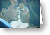 Barrack Obama Greeting Cards - The Kiss Greeting Card by Kevin Harris