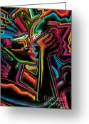 Relationship Pastels Greeting Cards - The kiss Greeting Card by  Kevin McDowell