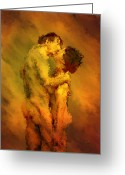 Embrace Greeting Cards - The Kiss Greeting Card by Kurt Van Wagner