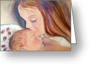 Precious Painting Greeting Cards - The Kiss Greeting Card by Margie Maroney