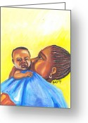 Senegal Greeting Cards - The Kiss of A Mother in Senegal Greeting Card by Emmanuel Baliyanga
