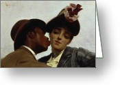 Racial Greeting Cards - The Kiss Greeting Card by Theodore Jacques Ralli