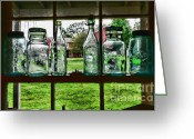 Mason Jars Photo Greeting Cards - The kitchen window Greeting Card by Paul Ward