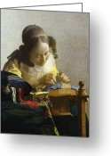 Vermeer Greeting Cards - The Lacemaker Greeting Card by Jan Vermeer