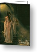 Romanticism Digital Art Greeting Cards - The Lady of Shalott Greeting Card by Shanina Conway