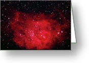 Glowing Star Greeting Cards - The Lagoon Nebula In Sagittarius Greeting Card by A. V. Ley