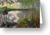Lakes Greeting Cards - The Lake at Montgeron Greeting Card by Claude Monet