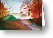 Fall Photographs Painting Greeting Cards - The Lake Road Greeting Card by Julie Lueders
