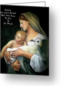 Christ Child Pastels Greeting Cards - The Lamb Of God Greeting Card by Joyce Geleynse