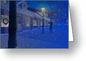 Flurries Greeting Cards - The lamplighter Greeting Card by Carol and Mike Werner