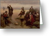 Landing Painting Greeting Cards - The Landing of the Pilgrim Fathers Greeting Card by George Henry Boughton