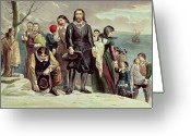 Landing Painting Greeting Cards - The Landing of the Pilgrims at Plymouth Greeting Card by Currier and Ives
