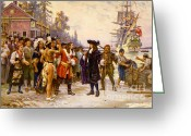 Greet Greeting Cards - The Landing Of William Penn, 1682 Greeting Card by Photo Researchers