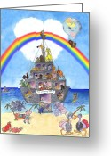 Noahs Ark Painting Greeting Cards - The Landing Party  Greeting Card by Sherry Holder Hunt