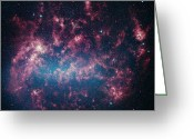 Interstellar Clouds Photo Greeting Cards - The Large Magellanic Cloud, A Satellite Greeting Card by Stocktrek Images