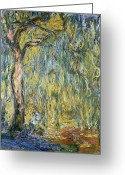 Masterpiece Painting Greeting Cards - The Large Willow at Giverny Greeting Card by Claude Monet