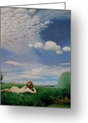Sunbathing Greeting Cards - The Lark Greeting Card by Pal Szinyei Merse