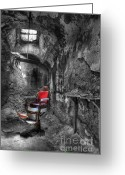 Ghosts Greeting Cards - The Last Cut- Barber Chair - Eastern State Penitentiary Greeting Card by Lee Dos Santos