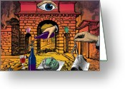 Retro-montage Greeting Cards - The Last Days of Herculaneum Greeting Card by Eric Edelman