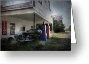 Gas Stations Greeting Cards - The Last Fill Up Greeting Card by Lori Deiter
