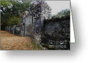 Rock Walls Greeting Cards - The Last Gate Greeting Card by Leslie Revels Andrews
