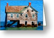 Flooded Greeting Cards - The Last House on Holland Island Greeting Card by Michael Pickett