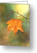 Artistic Painting Greeting Cards - The Last Leaf Greeting Card by Gladys Folkers