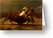 West Painting Greeting Cards - The Last of the Buffalo Greeting Card by Albert Bierstadt