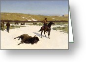Great Painting Greeting Cards - The Last of the Herd Greeting Card by Henry Francois Farny