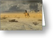 American Cowboy Digital Art Greeting Cards - The Last Ranger Greeting Card by Dieter Carlton