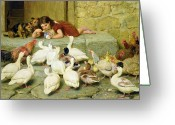 Feeding Greeting Cards - The Last Spoonful Greeting Card by Briton Riviere