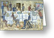 Disciples Greeting Cards - The Last Supper Greeting Card by Conrad Romyn