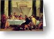Feast Greeting Cards - The Last Supper Greeting Card by Giovanni Battista Tiepolo