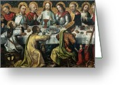 Chalice Greeting Cards - The Last Supper Greeting Card by Godefroy