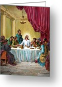 Disciples Greeting Cards - The Last Supper Greeting Card by John Lautermilch