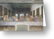 Renaissance Greeting Cards - The Last Supper Greeting Card by Leonardo da Vinci