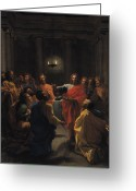 Disciples Greeting Cards - The Last Supper Greeting Card by Nicolas Poussin
