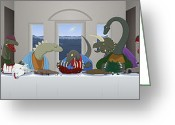 Pterodactyl Greeting Cards - The Last Supper of Raptor Jesus Greeting Card by Greasy Moose