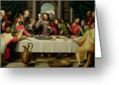 C Greeting Cards - The Last Supper Greeting Card by Vicente Juan Macip